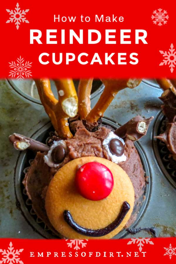 Rudolph the Red Nosed Reindeer chocolate Christmas cupcake.