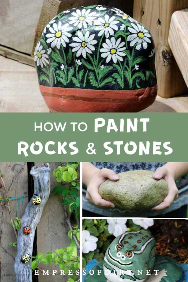 Rock painting ideas including ladybugs, frog, owl, and daisies.
