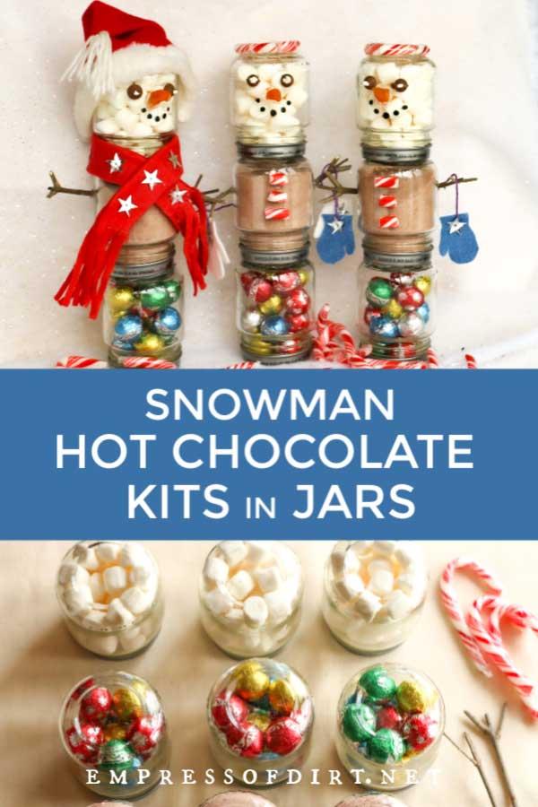 Make Snowman Hot Chocolate Kits in Jars