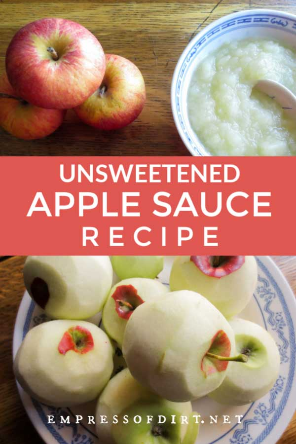 Fresh apples and a bowl of homemade apple sauce.