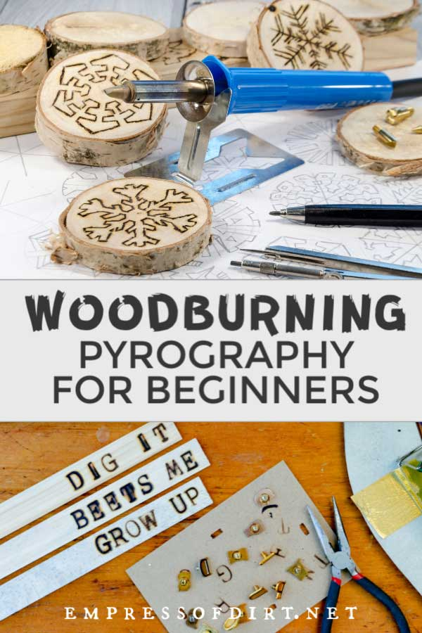 Examples of woodburning crafts and tools.