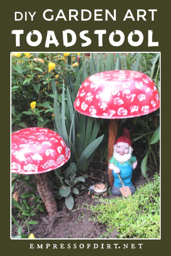 Garden art toadstools made from recycled bowls.