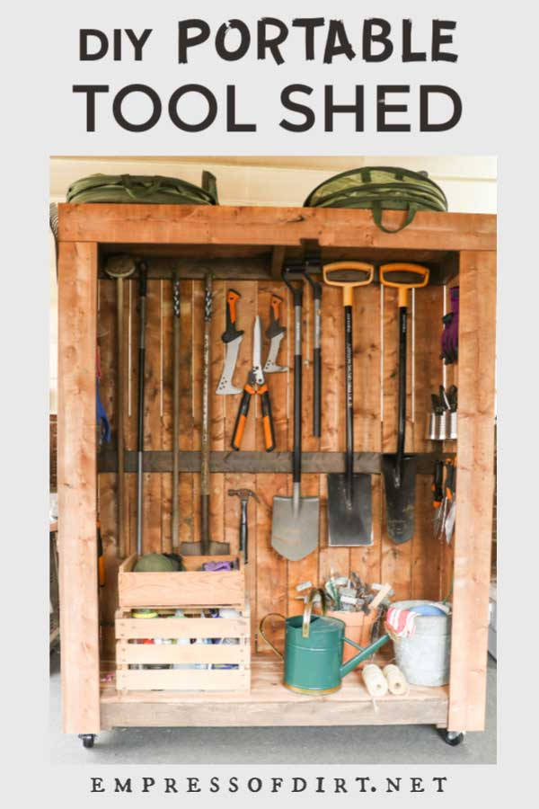 Portable tool shed on wheels with garden tools nicely organized.