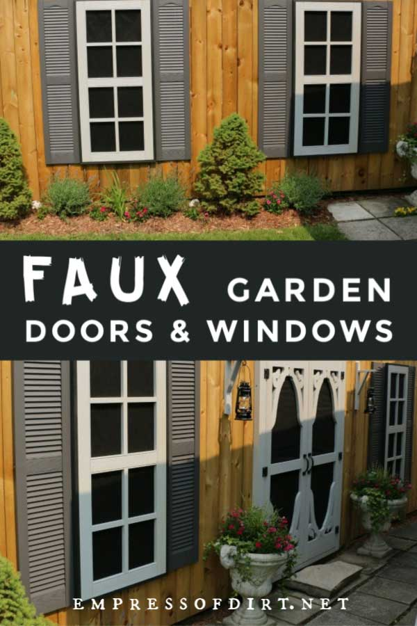 Faux windows and doors on garden fence.