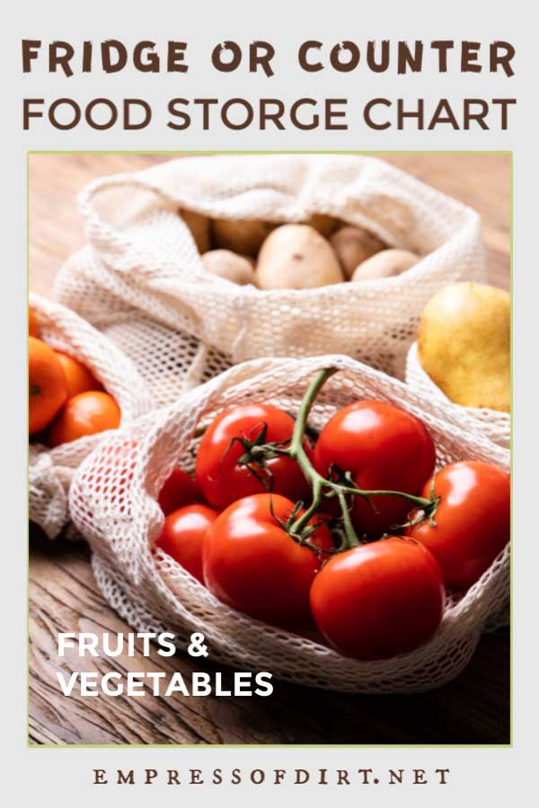 Tomatoes, potatoes, pears, and oranges in net produce shopping bags.