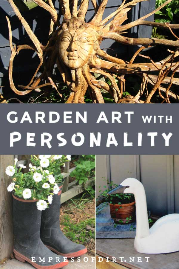 Examples of garden art with personality including a sun carving, boot planter, and wooden swan.