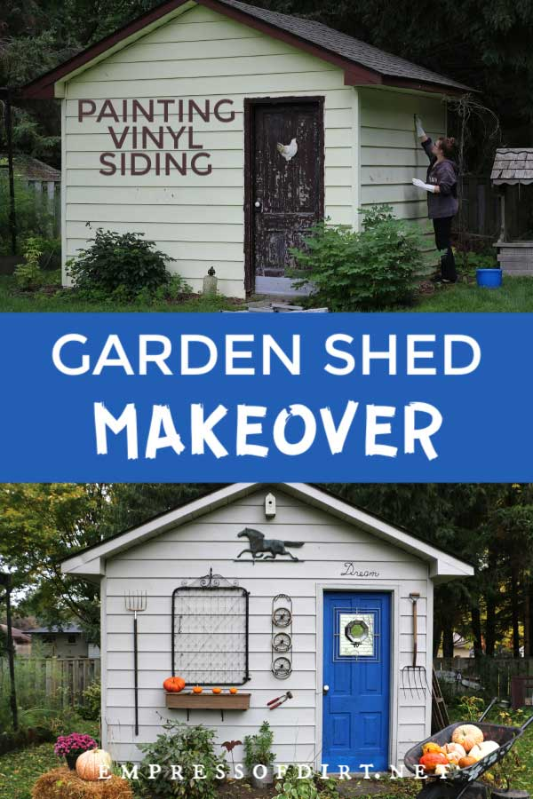 Backyard shed showing before and after painting vinyl siding.