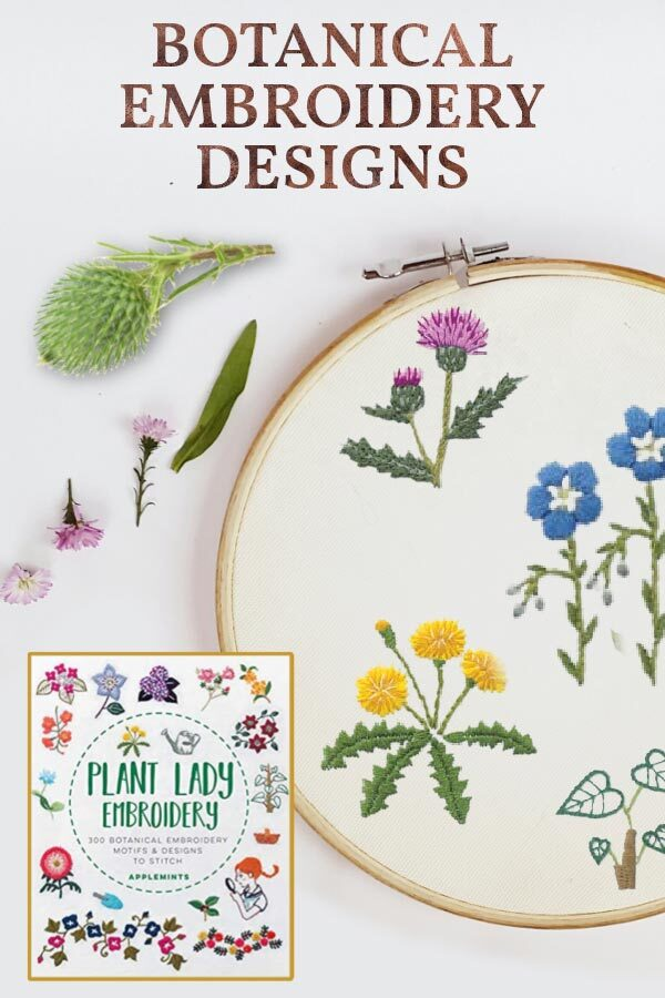 Embroidery hoop with examples of botanical embroidery designs.