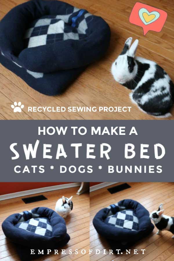 Pet bed made from a recycled sweater.