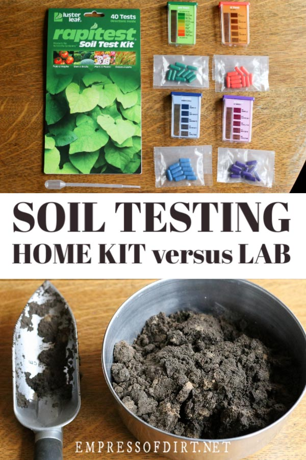 A home soil testing kit and soil sample.