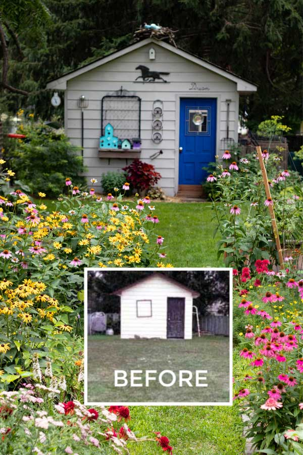 Before and after photo of backyard garden with shed.