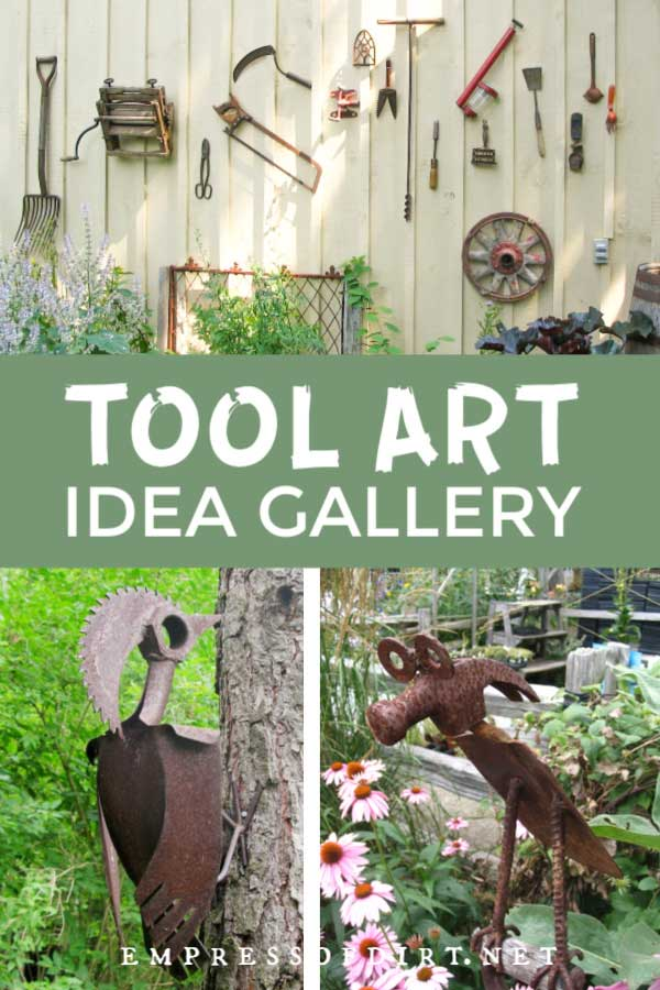Tools hanging on shed wall and tool art animals.