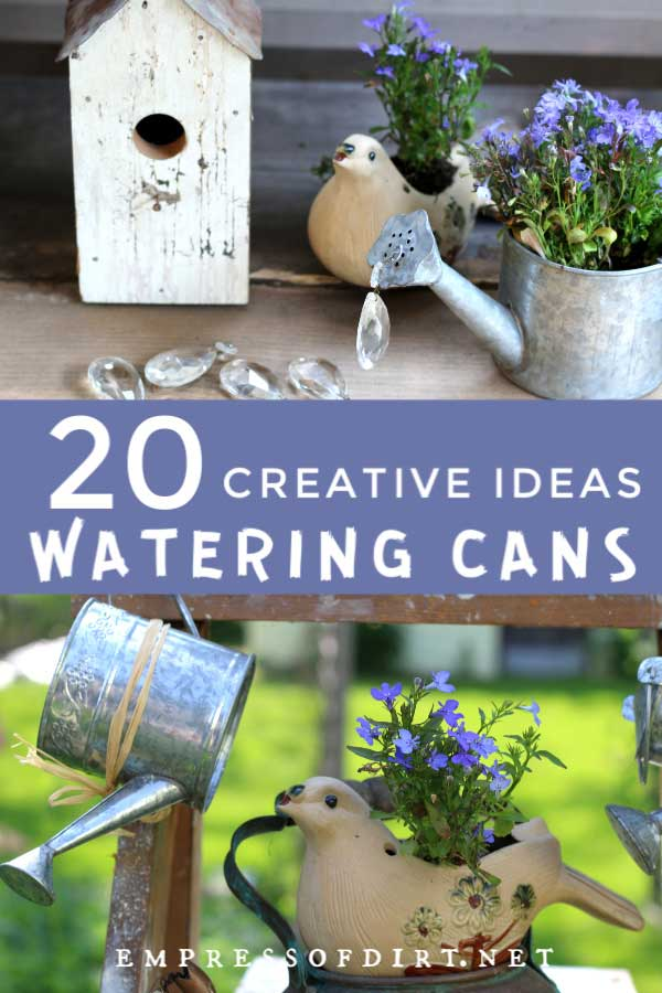 Examples of watering can garden art ideas.