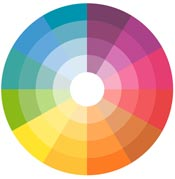 Color wheel showing complementary colors.