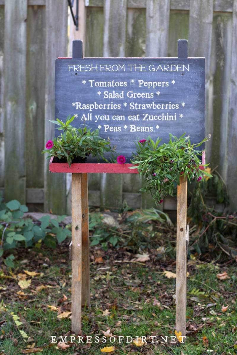 Chalkboard garden menu.