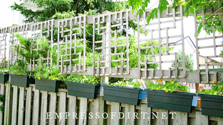 Lattice panels secured above a standard wood fence to increase privacy.