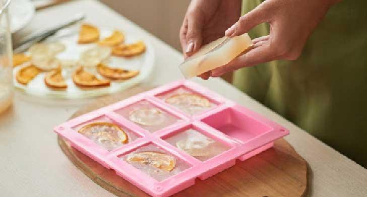Melt and pour homemade soap.
