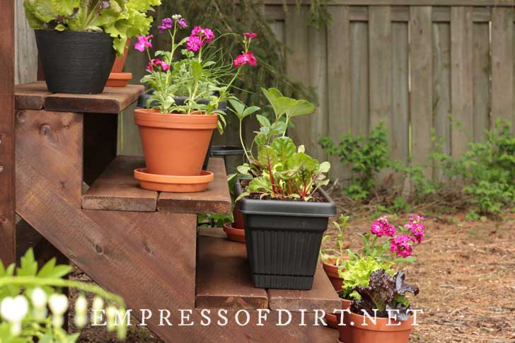 Side view of staircase plant stand with a variety of potted plants.