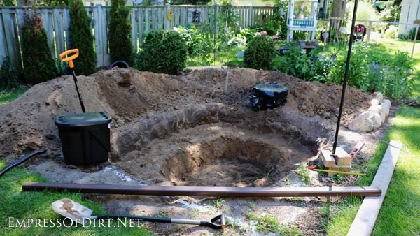 Digging A Backyard Garden Pond.