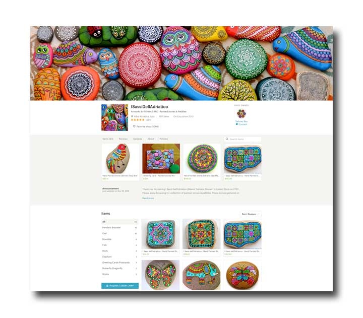 Artist F. Sehnaz Bac's Painted Stone shop on Etsy