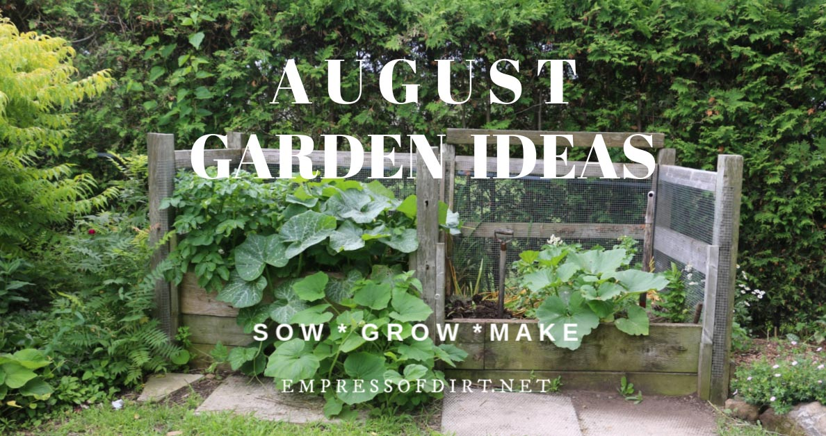 The compost and yard waste bin in August garden.