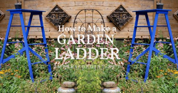 Homemade garden art ladder painted blue.