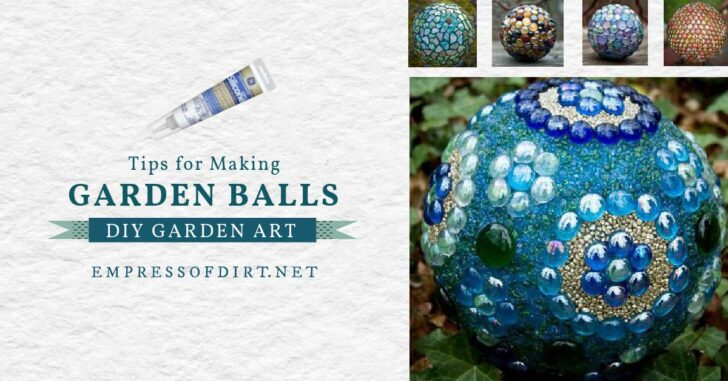 Decorative garden art balls in assorted styles and colors.