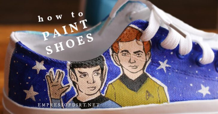 Hand painted running shoe with star trek characters.