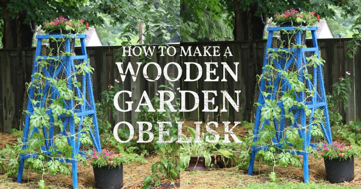 Wooden garden obelisk painted blue.