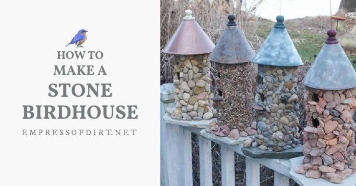 Homemade stone birdhouses with funnel roofs.