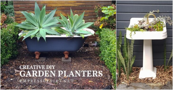 Old clawfoot tub and pedestal sink used as creative garden planters.
