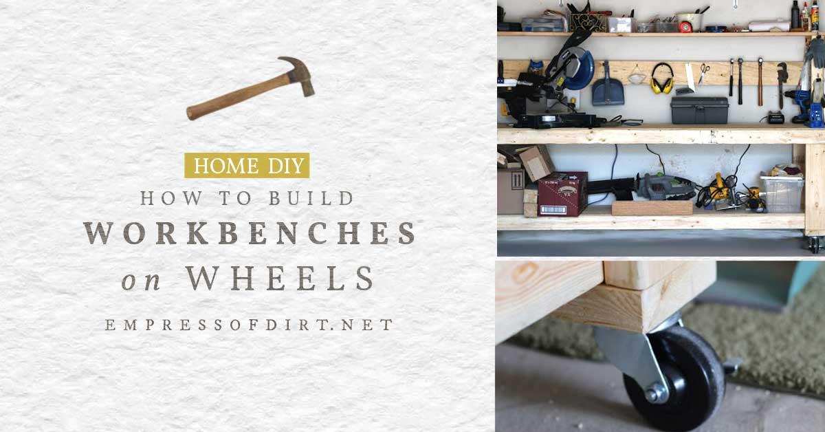 Homemade workbench on wheels.