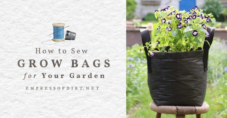 Homemade grow bag with flowers in a home garden.