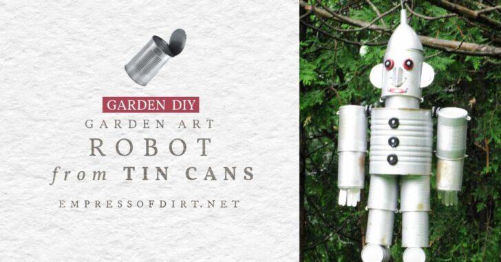 Garden art robot made from tin cans.