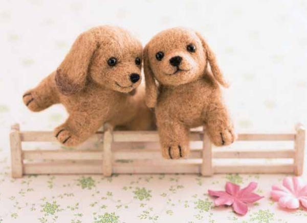 Needle-felted dachshund puppies