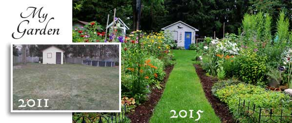 Melissa the Empress of Dirt shares creative and frugal home and garden ideas. This is her garden when she started in 2011 and how it looked a few years later.