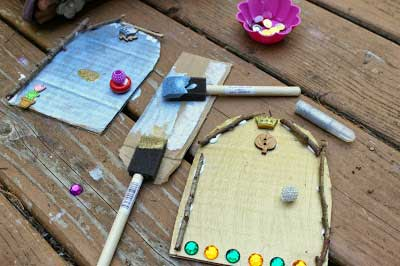 Cardboard fairy garden door for kids