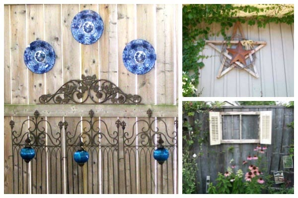 Examples of DIY garden art hanging on backyard fences including plates, a wooden start, and an old window with white shutters.