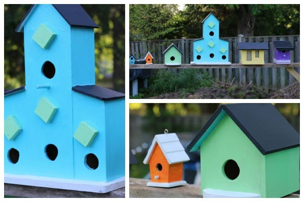 Add Pops of Color with Painted Garden Art Birdhouses
