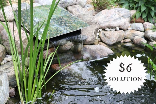 An inexpensive way to create a pond spillway cover.