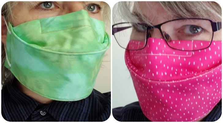 Green and pink no-fog homemade face masks.