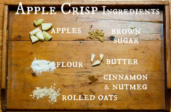 Ingredients for making homemade apple crisp.