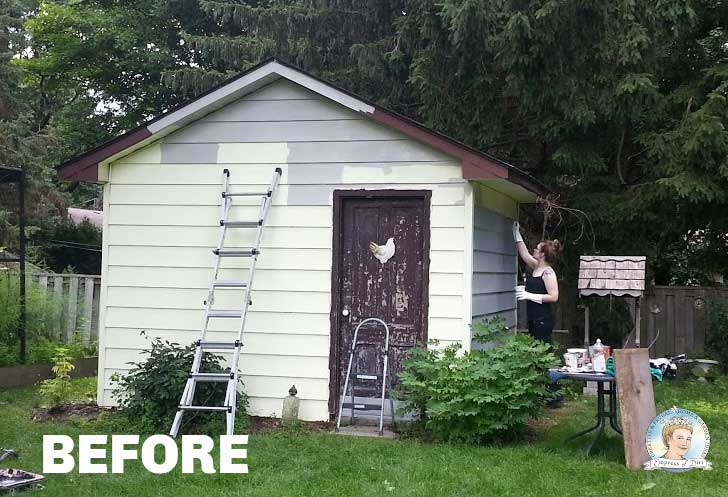 Beginning shed makeover with vinyl paint.
