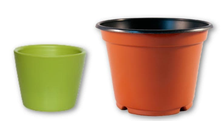 Two plastic flower pots: one small green one and one larger clay-colored one.
