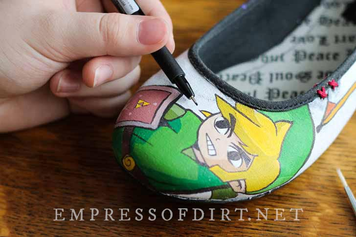 Handpainted canvas shoe with video game character.