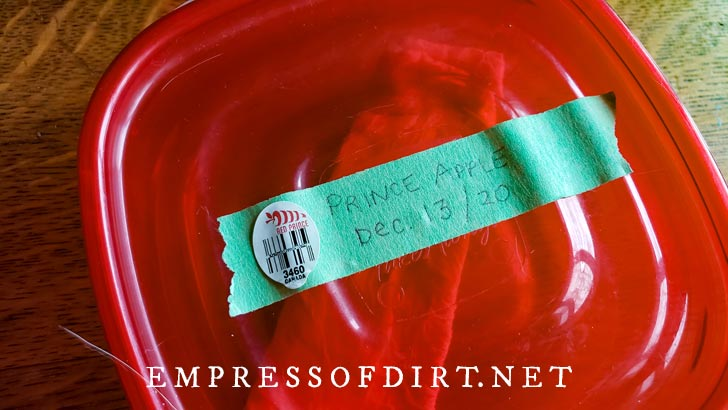 Lid of plastic food container with piece of tape labelled with name of apple seeds inside.