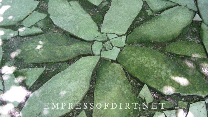 Mossy inlaid flagstone flower.