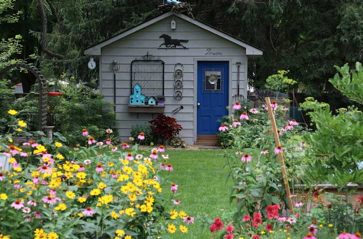 Backyard garden with shed filled with flowers at the peak of summer.