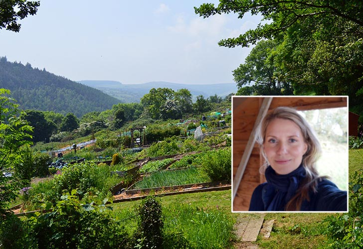 Tanya Anderson of Lovely Greens and her allotment garden.