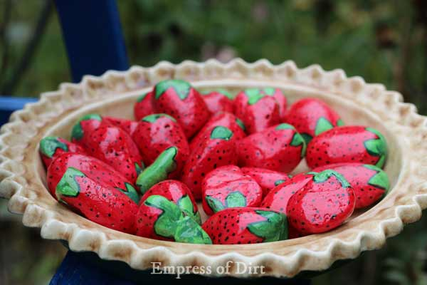 Make a strawberry pie water feeder for birds, bees, and butterflies.